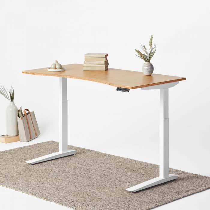 Fully Jarvis Bamboo Standing Desk Contour White Frame