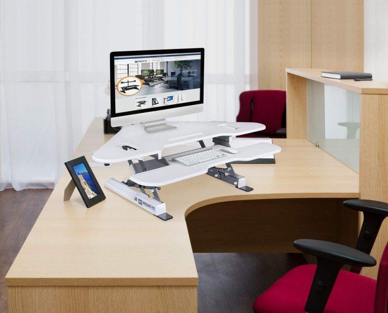 Mount It Height Adjustable Corner Standing Desk Converter 3